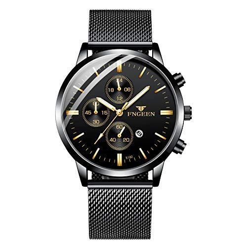 Infinity U-Watches da uomo, impermeabile con cinturino in acciaio inossidabile Orologi da polso al quarzo analogici Puntatore luminoso con calendario