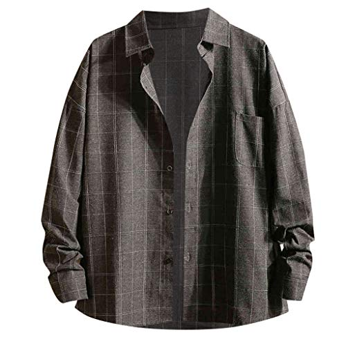 Lowest Price! Mlide Mens Coats Spring And Autumn Lapel Plaid Shirt With Button