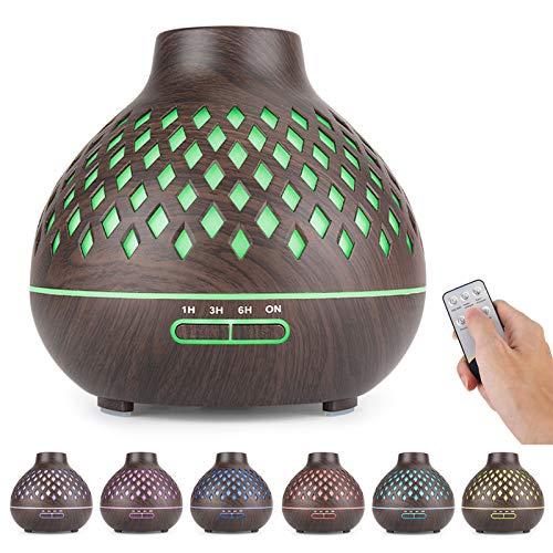 FRECOO Aroma Diffuser, 400 ml Ultraschall-Luftbefeuchter mit kühlem Nebel, BPA-Free Aromatherapie Diffusor Ätherische Öle Luftbefeuchter für zuhause, Yoga, Spa Schlafzimmer - Schwarz