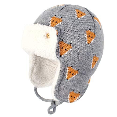 Gajaous Baby Jungen Mädchen Wintermütze mit Ohrenklappe und Dinosaurier-Futter aus Fleece, warme Mütze Gr. M 48/50 cm (12-24 Monate), Fuchs