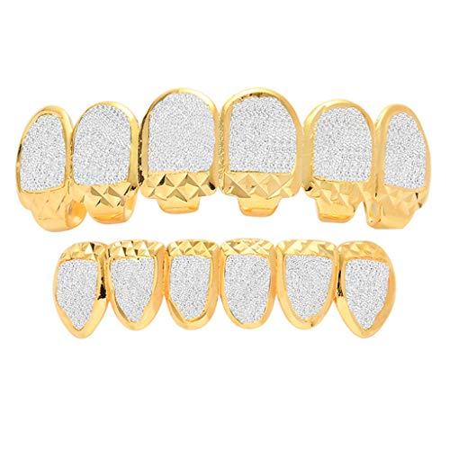 LC8 Jewelry Hip Hop Dientes Grillz Tapas superior e inferior, juego de parrilla, chapado en oro de 18 quilates, micropavé de imitación de diamante helado