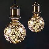 Bombilla LED G95 con forma de globo para iluminación nocturna ambiental, E27 con cadena de luces decorativas estrelladas para dormitorio, sala de estar [2 unidades, blanco cálido]