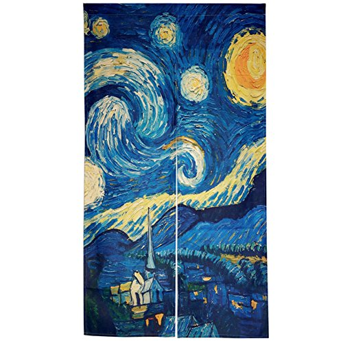DIPPERION Doorway Curtain Japanese Noren Curtain Tapestry The Starry Night Door Way Curtain Fitting Room Curtain Partition Curtain Door Hanging Tapestry
