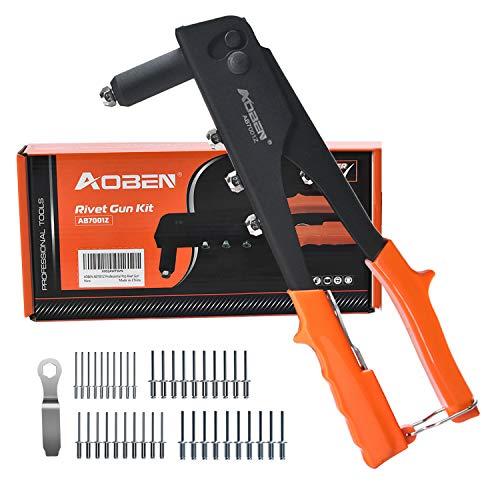 AOBEN Rivet Gun, Professional Rivet Gun Kit with 200-Piece Metal Rivets, Single Hand Manual Rivet Tool for Automotive, Railway, Furniture, Instrument.