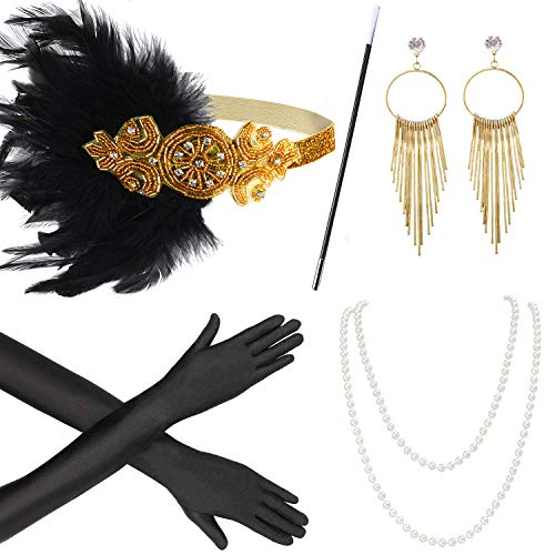 Beelittle 1920s Accesorios Set Diadema, Collar, Guantes, Porta-Cigarrillos Great Gatsby Disfraces Set para Mujeres (W)