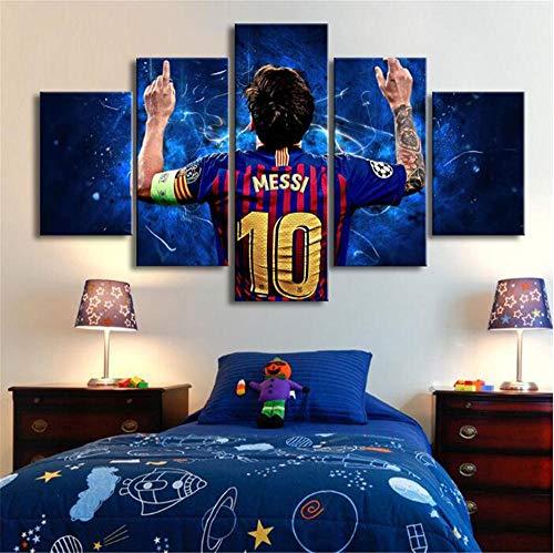 LCCWLH Stampe e Quadri su Tela 5 Pezzi Poster di Messi Famose Star del Calcio Arte della Parete Sport Immagine Decorazione della Stanza dei Bambini No Frame