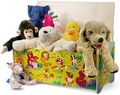 DIDA - Sitztruhe mit Platz für Spielzeug aus Holz für Kinder - Dekoration  Tierkonzert im Wald