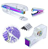 Kakeah Laser Colorful Desk Stapler with 1000 Staples, Staple Remover, Tape Dispenser, Binder Clips and Paper Clips Office Supplies Set, Acrylic Office Desk Accessories Kits