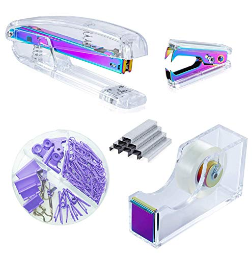 Kakeah Laser Colorful Desk Stapler with 1000 Staples, Staple Remover, Tape Dispenser, Binder Clips...