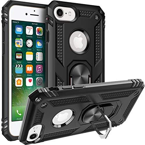 Fetrim Custodia per iPhone 7, Cover PC TPU Cassa Shell Supporto di Anello Rotante Case per Apple iPhone 6/6S/7/8 Nero