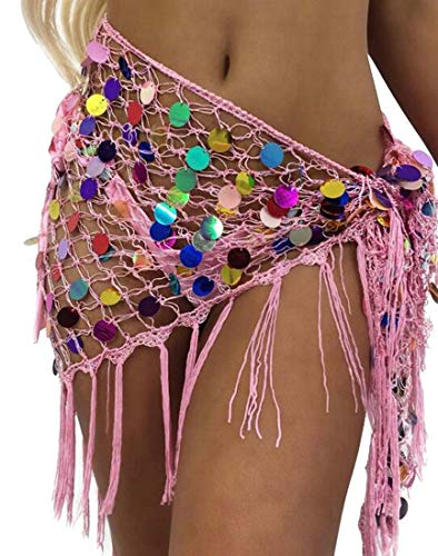 ShuangRun Vrouwen Flowy Net Hollow Out Haak Driehoek Bikini Badpak Cover Up Wrap Sjaal Roze M
