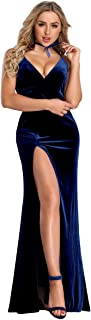 Women's Velvet Spaghetti Strap V Neck Evening Dress with Thigh High Slit 07181