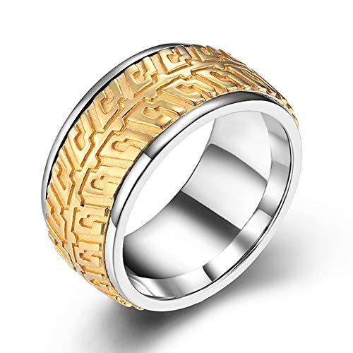 Herren 316L Edelstahl Autoreifen Ketten Kettenring, Drehbarer Spinner Band Ring, Stress Abbauender Schmuck, Stahlfarbe, Schwarz, Gold,Gold,11