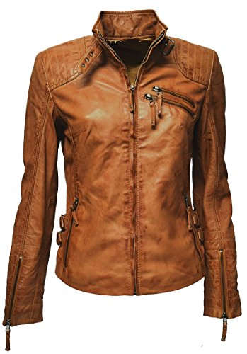 Zimmert Damen Biker Leder-Jacke Cognac-Braun Amy gesteppt, Washed, Used-Look, Slim-Fit (42, Cognac)