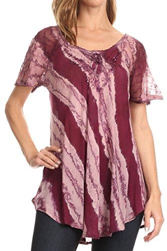 Sakkas 17789 - Valencia Tie Dye Escarpado de la Manga Casquillo con cordón Embellecido con Cuello Redondo Top - 7-Vino - Plus Size