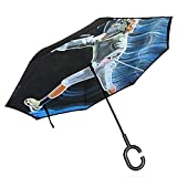 Mike-Shop Reverse Umbrella Upside Down Umbrella Lightweight mit C-förmigem Griff in Zaunfarbe