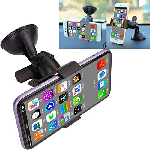 Supporto universale per parabrezza e cruscotto, con morsetto a braccio lungo, con clip a ventosa, compatibile con iPhone Xs MAX,Xs,Xr,X, 8, 7, 7P, 6s, Galaxy S10, S9, S8, Google, LG, HTC
