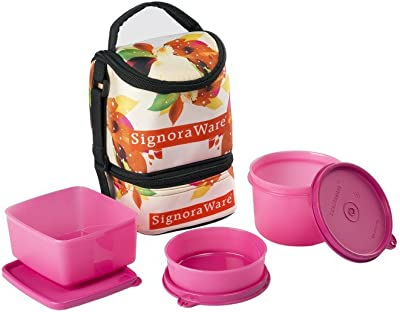 Signoraware Blossom Trio Lunch Box with Bag Set, 3-Pieces, Pink