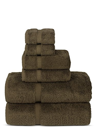 Chakir Turkish Linens Luxury Spa and Hotel Quality Premium Turkish Cotton 6-Piece Towel Set (2 x Bath Towels, 2 x Hand Towels, 2 x Washcloths, Cocoa)