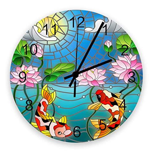 Reloj de Pared artístico para decoración de Sala de Estar, Lucky Fish y Lotus Chic Relojes de Pared de Oficina Colgantes silenciosos Que Funcionan con Pilas