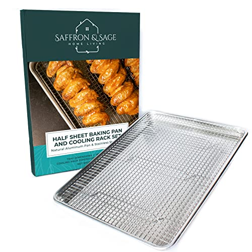 Commercial Quality Half Sheet Baking Pan and Stainless Steel Cooling Wire Rack Set - Aluminum Tray 18' x 13' - Rust & Warp Resistant, Heavy Duty & Thick Gauge - Delivers An Evenly Baked Cookie