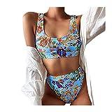 YpingLonk Conjuntos De Bikini Sexy Mujer Trajes De Baño Bañador Traje de Baño Acolchado con Aros Traje de Baño Floral de Colores Dulces