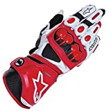 TRM Leather Motorcycle Gloves Lengthen Style Racing Gloves Non-Slip Anti-Fall Full Finger Gloves, Professional Racing Gloves,Red,M