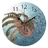 FETEAM Home Office School Reloj de Pared Redondo sin tictac 9.84 ″ (Ocean Undersea Animaltentacles)