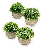 Plantas artificiales - Juego de 4 | Macetas vibrantes de imitación de flora | Macetas de plantas grises con vegetación falsa | Decoración de interiores, oficinas y hogar | M&W