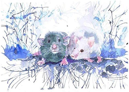 YOFUHOME Korsstygn kit råtta husdjur 11 karat stämplad nålspets tryckt mönster kit korsstygn sömnad broderi för heminredning