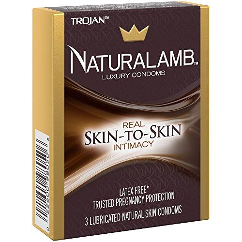 Trojan NATURALAMB with Silver Lunamax Pocket Case, Lubricated Natural Lamb Skin Condoms-3 Count
