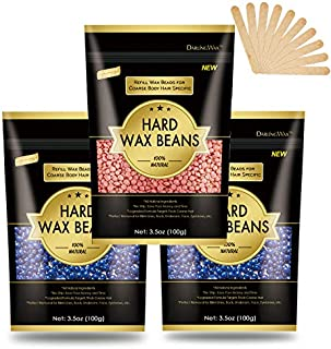 Hard Wax Beans for Painless Hair Removal, Smooth Facial and Full Body Hair Removal Wax beads, for Brazilian Bikini, Underarms, Back and Chest, Legs for At Home Waxing Wax Warmer Kit (Blue and Pink)