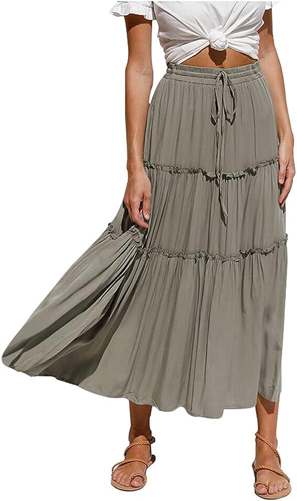 Lghxlxry Women's Casual Elastic Waist Drawstring Pleated A-Line Ruffle Swing Maxi Skirt