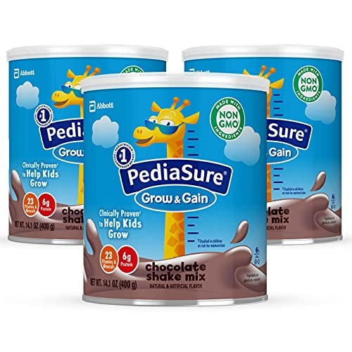 PediaSure Grow & Gain Non-GMO and Gluten-Free Shake Mix Powder, Nutritional Shake For Kids, With Protein, Probiotics, DHA, Antioxidants*, and Vitamins & Minerals, Chocolate (24 servings – 3 cans)