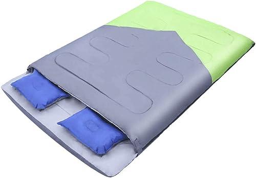 DYV Plein air Double enveloppe Sac de Couchage Adulte Couple Voyage ultraléger Sacs de Couchage pour Adultes enveloppe compacte étanche Saison Chaude Temps Frais