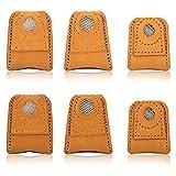 AIEX 6 Piezas Dedal De Costura Protector De Cuero para Dedos Almohadilla De Dedal De Monedas para Manualidades Costura...