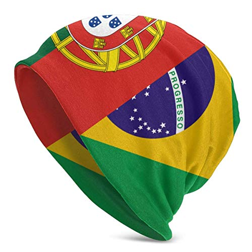 iuitt7rtree Flags of Brésil and Portugal Knit Beanies pour Hommes Femmes Hiver Chapeaux Hedging Casquettes