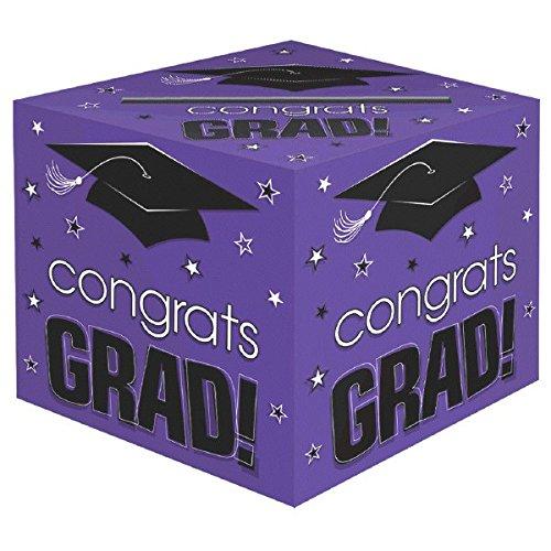 amscan School Colors Graduation Party Congrats Grad! Card Box Holder, Purple, Black and White, Paper, 12 x 12 x 12