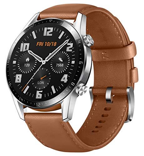 HUAWEI Watch GT 2 Smartwatch (46mm Full-Color-AMOLED, SpO2-Monitoring, Herzfrequenzmessung, Musik Wiedergabe&Bluetooth Telefonie, 5ATM wasserdicht, GPS) Pebble Brown [Exklusiv+5 EUR Gutschein]