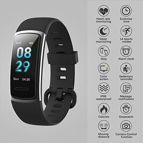 【Neuestes Modell】 Fitness Armband, KUNGIX Schrittzähler Uhr IP68 Wasserdicht Smartwatch Fitness Tracker mit Pulsmesser Smart Watch für Damen Herren Kinder iOS Android Kompatibel - 4