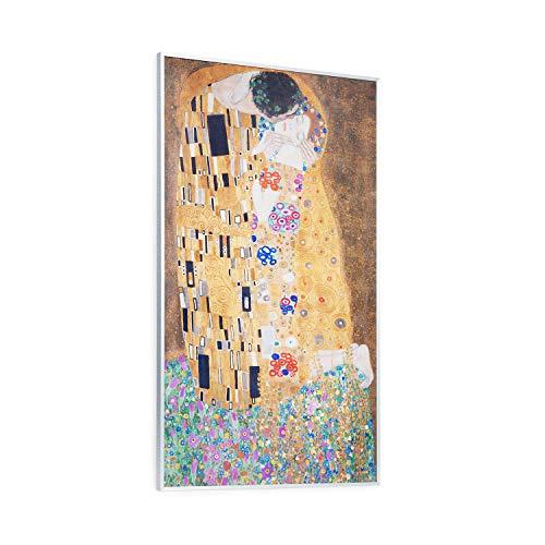 KLARSTEIN Wonderwall Air Art - Pannello di Riscaldamento a Infrarossi, 60x101cm, 600W,Carbon Crystal Infrared, IR ComfortHeat, Silenzioso, Antiallergico, Termostato, Kuss, Bianco