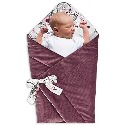 Babyhörnchen Decke - Babydecke Einschlagdecke Babyhörnchen Babynest Wickeldecke Umschlagdecke 80 x 80 cm (Baumwolle mit Traumfänger - Velvet in Rosa)