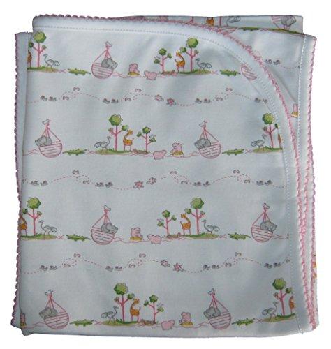 Kissy Kissy Baby-Girls Infant Noah's Print Receiving Blanket-Pink-One Size
