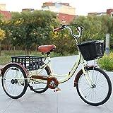OHHG Triciclo Adultos 3 Ruedas 7 velocidades Cesta la Compra Triciclo Adultos Bicicleta Crucero Pedal Bicicleta Adultos Ciclismo Marco Acero al Carbono Compras Deportes Picnic al Aire Libre