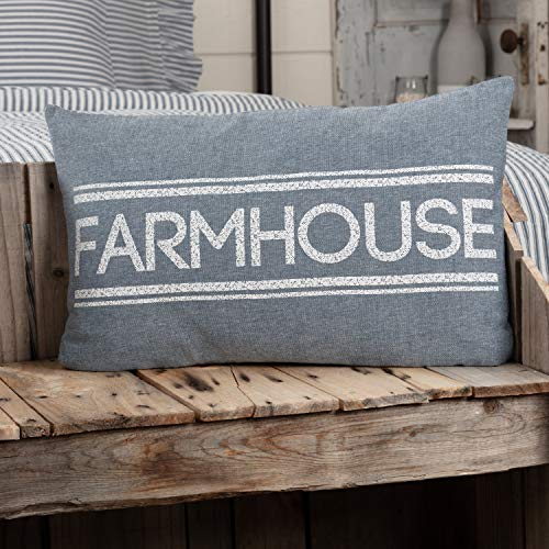 VHC Brands Sawyer Mill Decorative Throw Pillow for Sofa, Couch, 14x22 Bedding Accessory, Farmhouse Blue