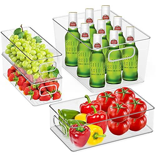 Aishces Karcore Kühlschrank Organizer 4er-Set Speisekammer Vorratsbehälter Kühlschrank Behälter aus PET, Durchsichtig Aufbewahrungsbox für Küche,Speisekammer, Schränke (1 Große/1 Mittel/2 Klein)