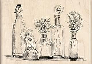 Inkadinkado Vintage Flowers in Bottles Wood Stamp, 5'' W x 3'' L