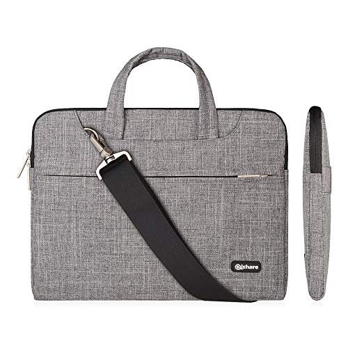 Qishare 13.3-14 Inch Laptop Bag,Multi-functional Fabric Laptop Case,Adjustable shoulder strap&Suppressible Handle,Portable Sleeve Briefcase(grey lines)