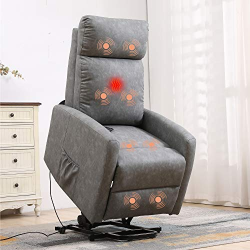 XRHOM Massage Recliner Chair for Elderly Electric Power Lift Chair Sofa Reading Chair Living Room Chairs PU Leather Reclining Chair Ergonomic Heated Lazyboy Home Theater Seating Recliners,Grey