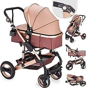Husuper 2 en 1 Cochecito Bebé de de Alta Calidad Plegable Portátil Ligero Amortiguador Ajustable con Carro Multiuso para…